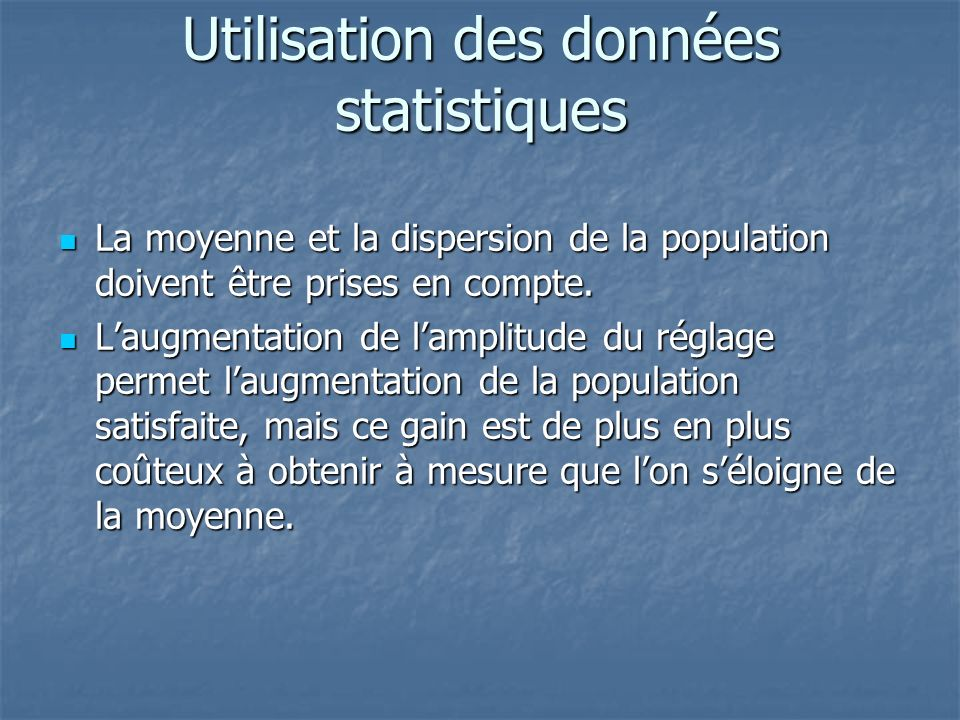 Utilisation des données statistiques