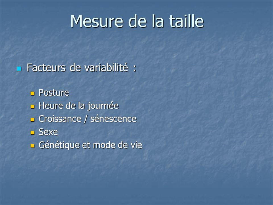 Mesure de la taille Facteurs de variabilité : Posture