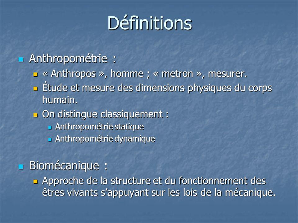 Définitions Anthropométrie : Biomécanique :