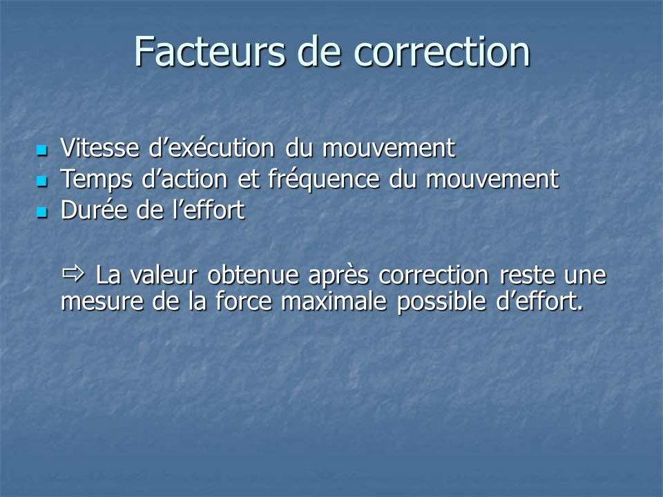 Facteurs de correction