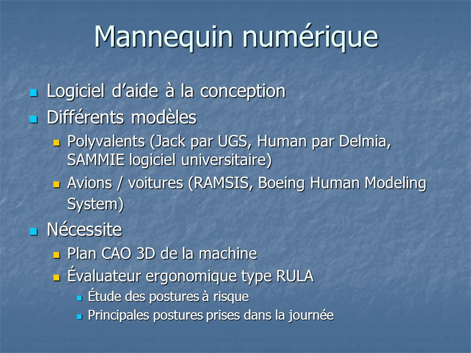 Mannequin numérique Logiciel d'aide à la conception Différents modèles