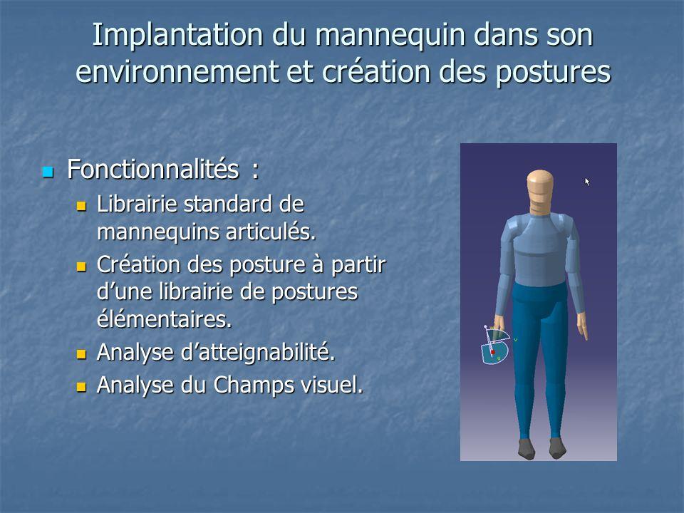 Implantation du mannequin dans son environnement et création des postures