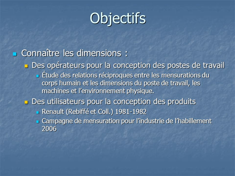 Objectifs Connaître les dimensions :
