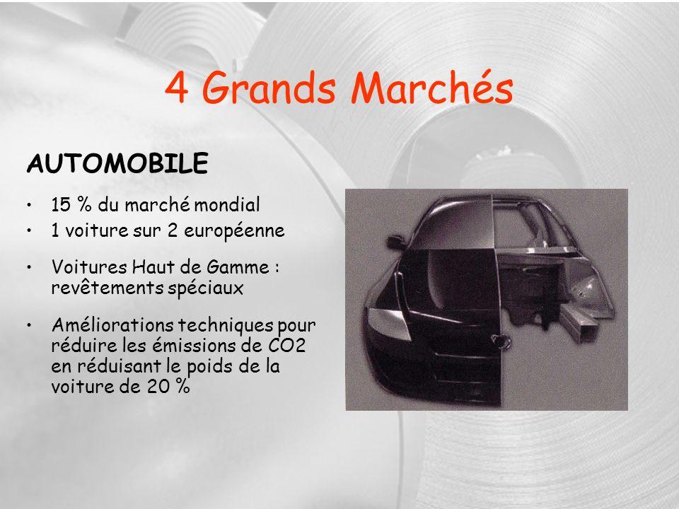 4 Grands Marchés AUTOMOBILE 15 % du marché mondial