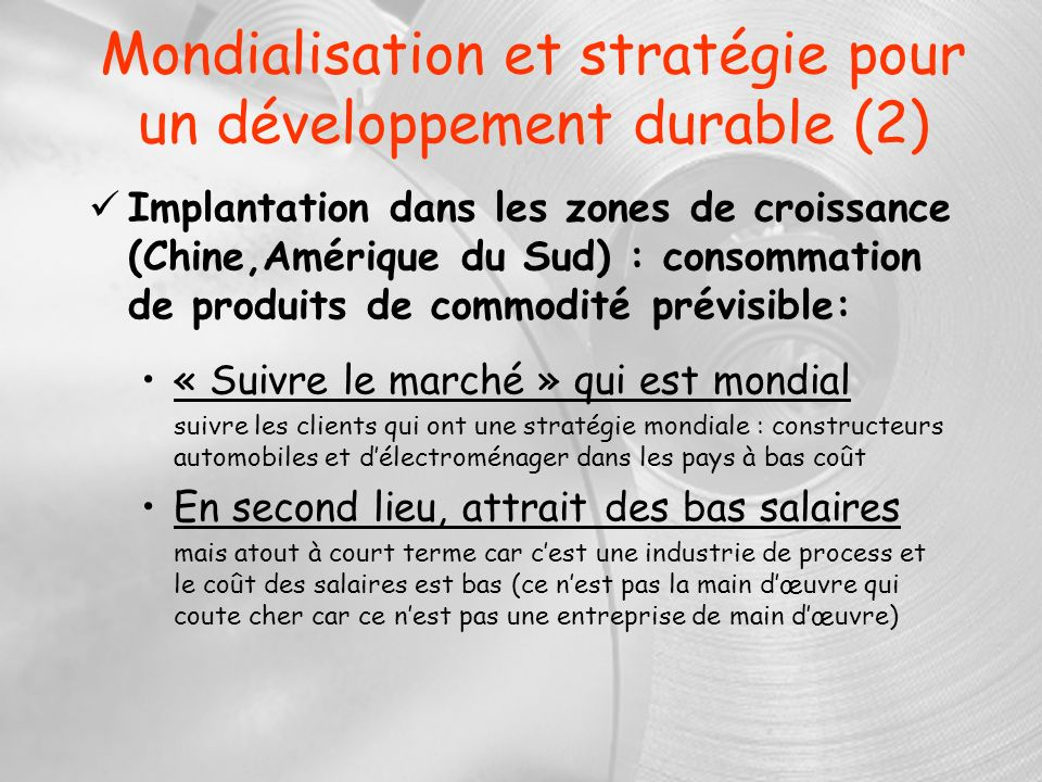 Mondialisation et stratégie pour un développement durable (2)