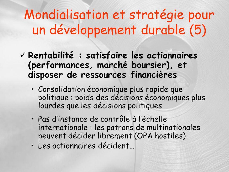 Mondialisation et stratégie pour un développement durable (5)