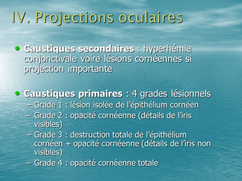 IV. Projections oculaires