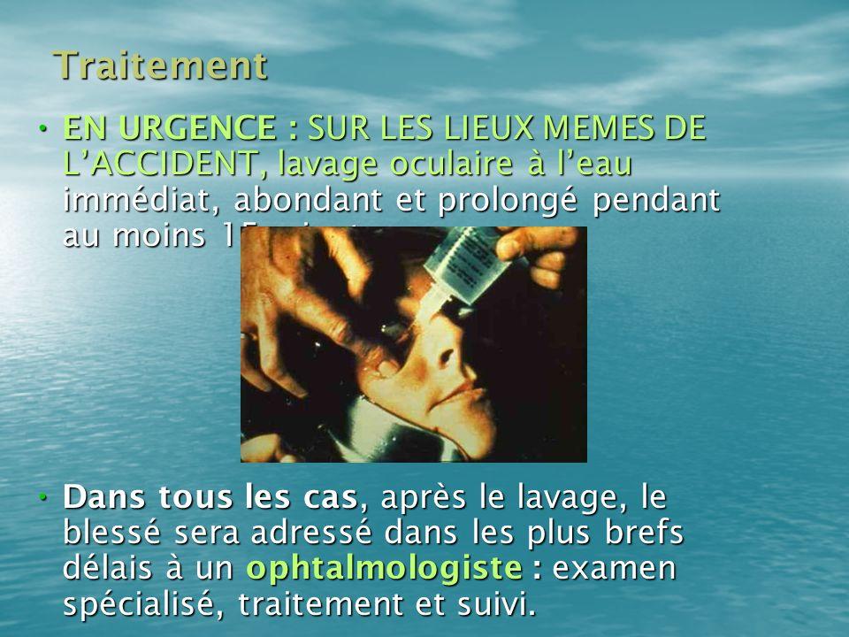 TraitementEN URGENCE : SUR LES LIEUX MEMES DE L'ACCIDENT, lavage oculaire à l'eau immédiat, abondant et prolongé pendant au moins 15 minutes.