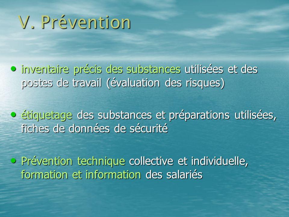 V. Préventioninventaire précis des substances utilisées et des postes de travail (évaluation des risques)
