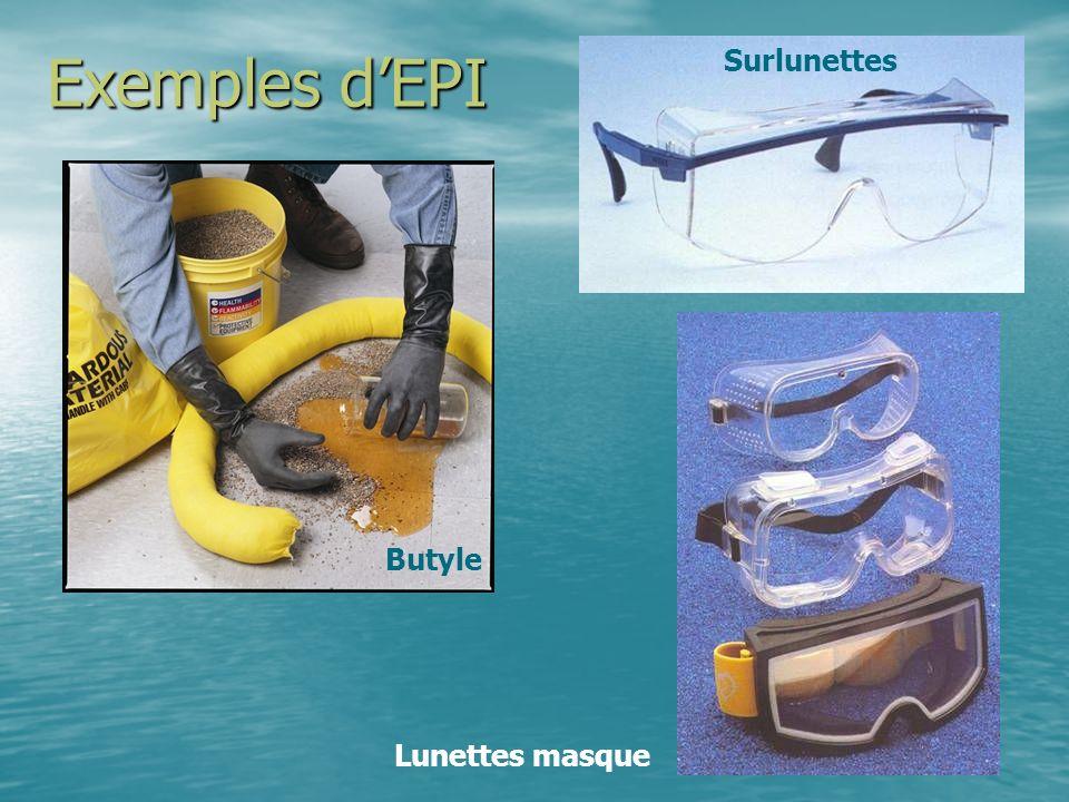 Exemples d'EPI Surlunettes Butyle Lunettes masque