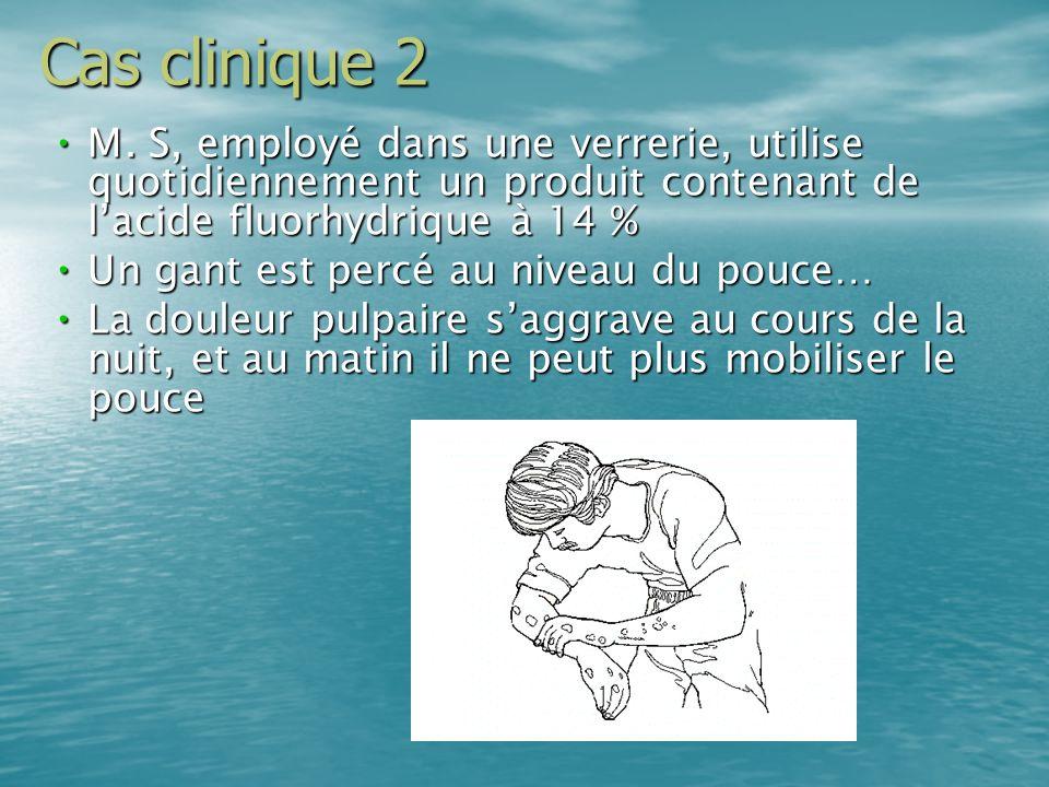 Cas clinique 2M. S, employé dans une verrerie, utilise quotidiennement un produit contenant de l'acide fluorhydrique à 14 %
