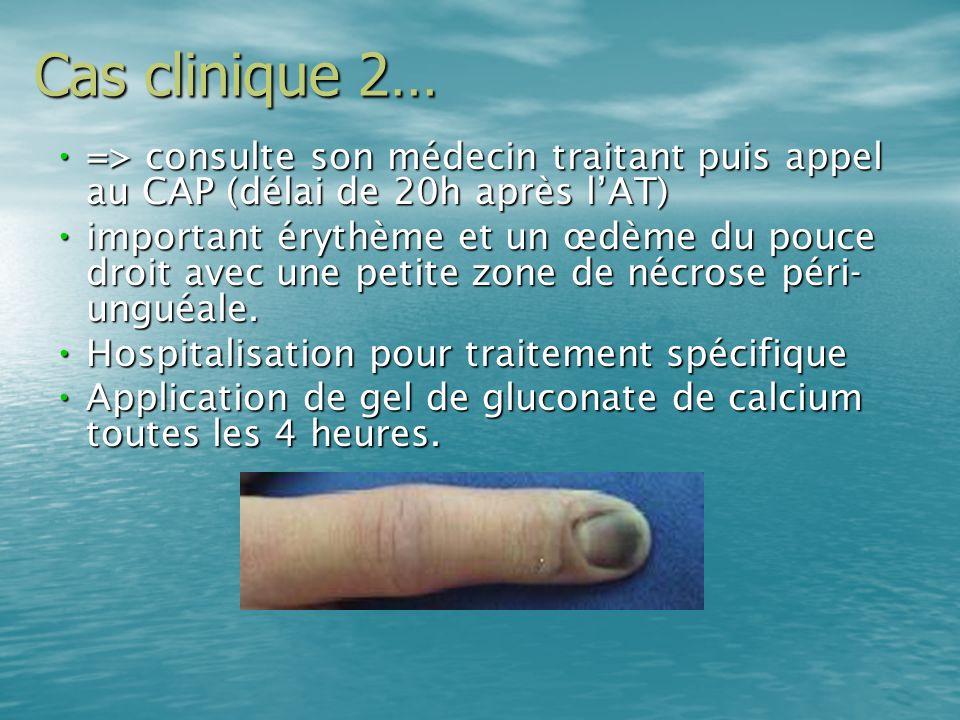 Cas clinique 2…=> consulte son médecin traitant puis appel au CAP (délai de 20h après l'AT)