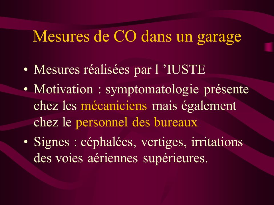 Mesures de CO dans un garage