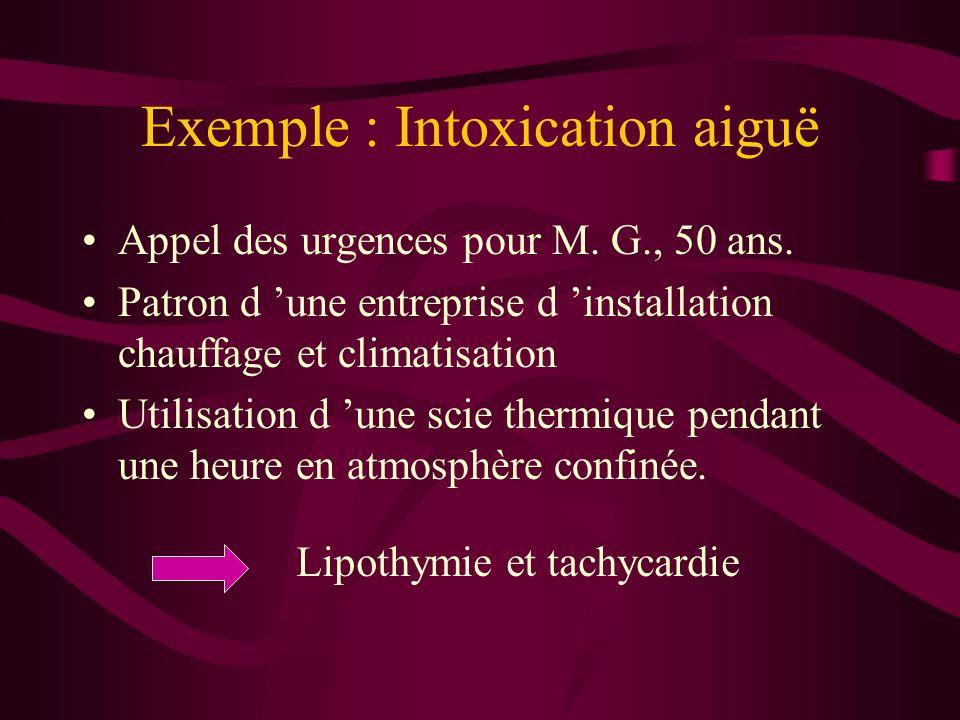 Exemple : Intoxication aiguë