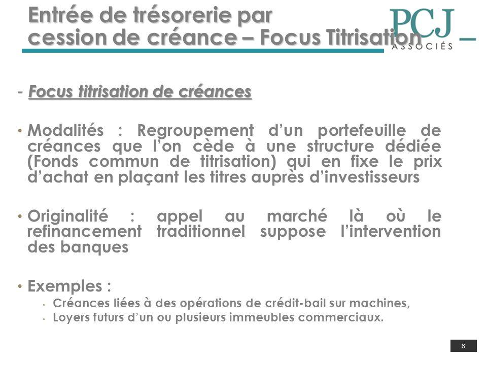 Entrée de trésorerie par cession de créance – Focus Titrisation