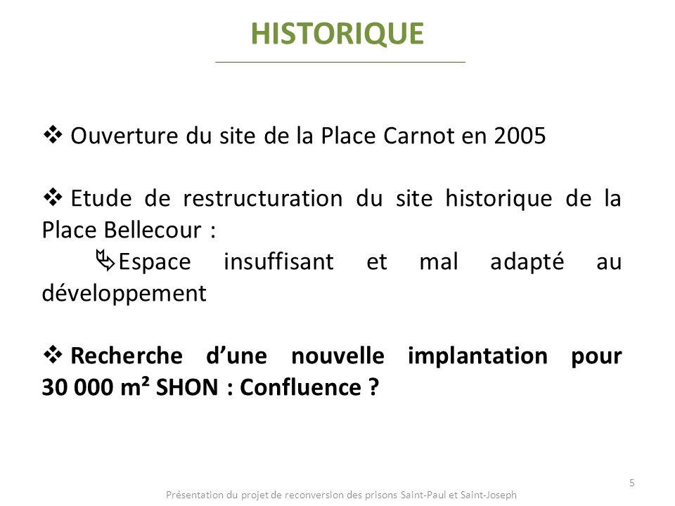 HISTORIQUE Ouverture du site de la Place Carnot en 2005