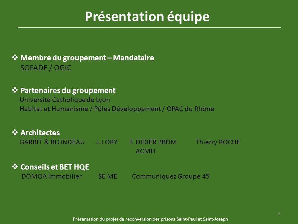 Présentation équipe Membre du groupement – Mandataire SOFADE / OGIC