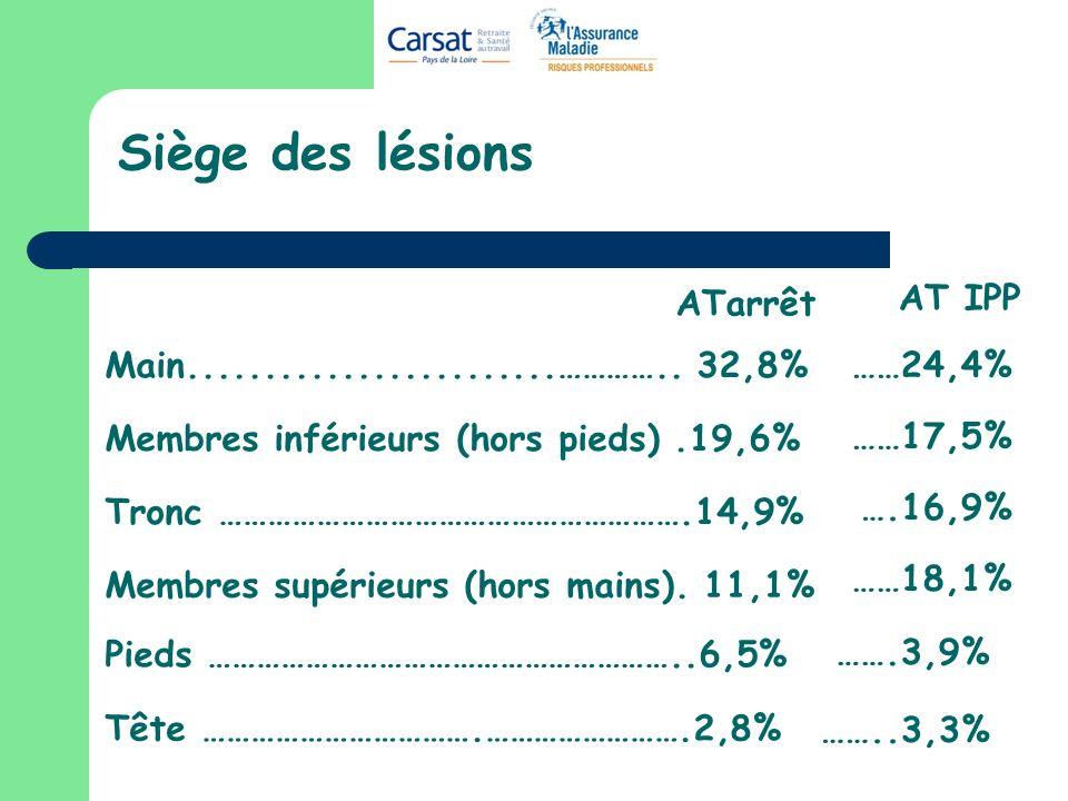 Siège des lésions ATarrêt AT IPP ……24,4% ……17,5% ….16,9% ……18,1%