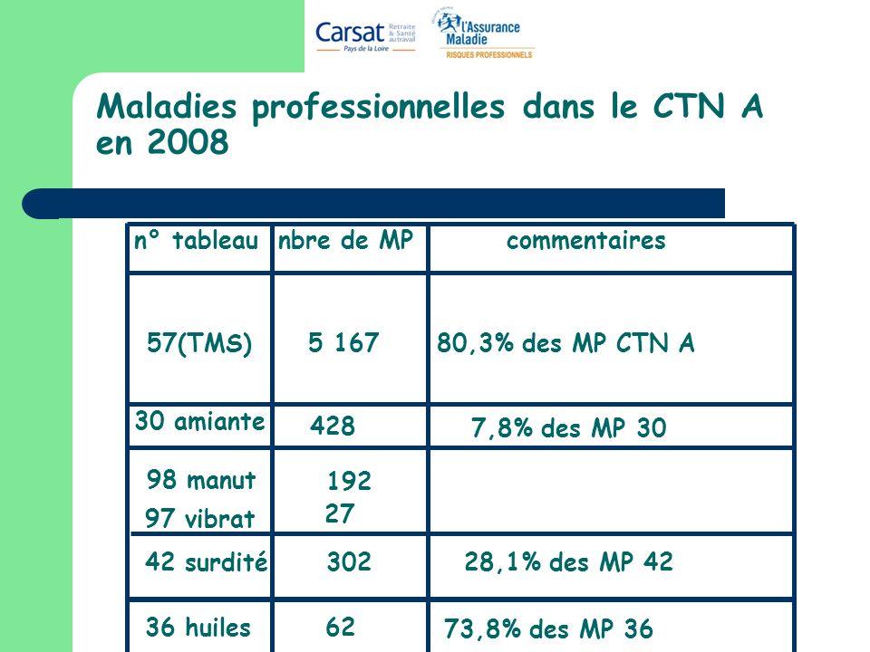 Maladies professionnelles dans le CTN A en 2008