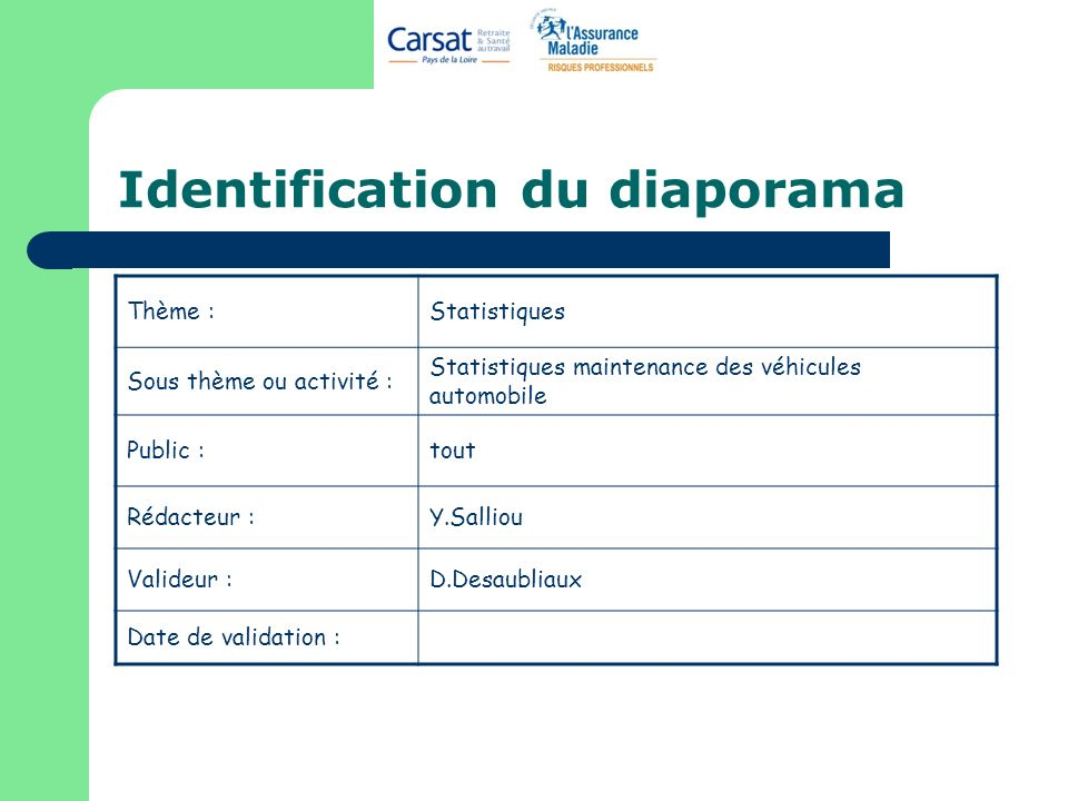 Identification du diaporama