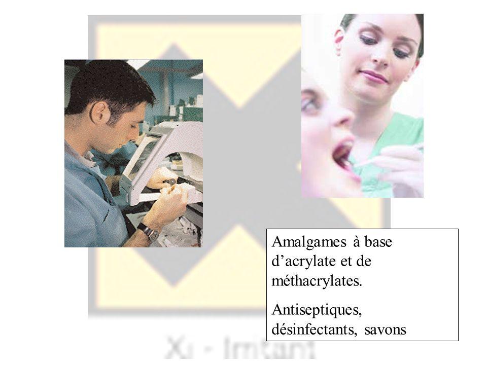 Amalgames à base d'acrylate et de méthacrylates.