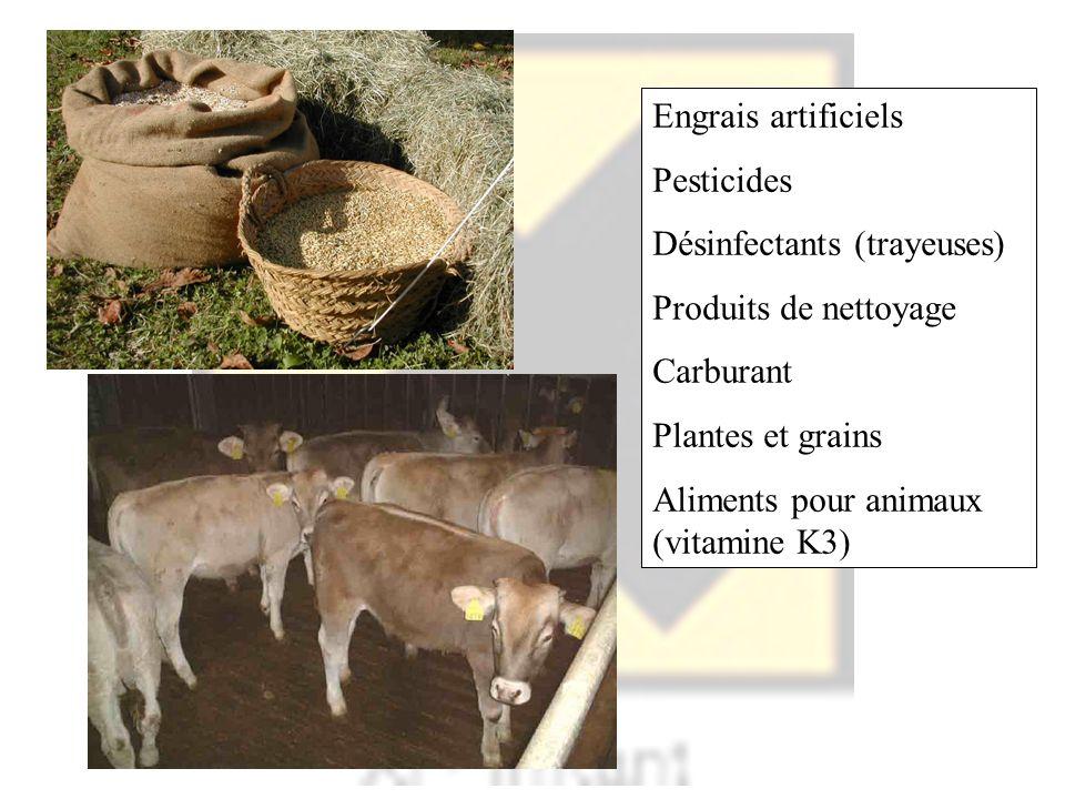 Engrais artificiels Pesticides. Désinfectants (trayeuses) Produits de nettoyage. Carburant. Plantes et grains.