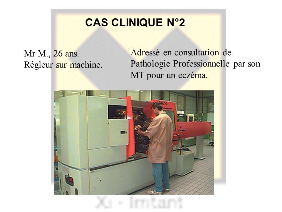 CAS CLINIQUE N°2 Mr M., 26 ans. Régleur sur machine.