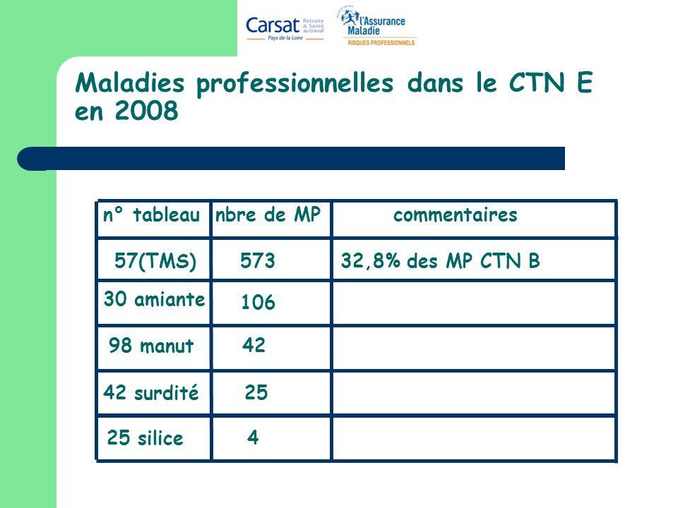 Maladies professionnelles dans le CTN E en 2008
