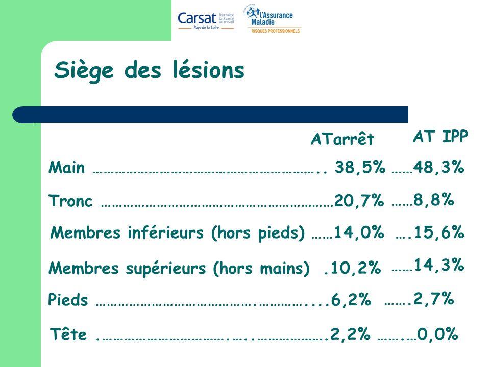 Siège des lésions ATarrêt AT IPP ……48,3% ……8,8% ….15,6% ……14,3%