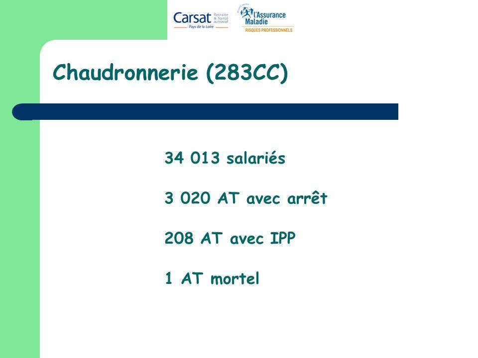 Chaudronnerie (283CC) 34 013 salariés 3 020 AT avec arrêt