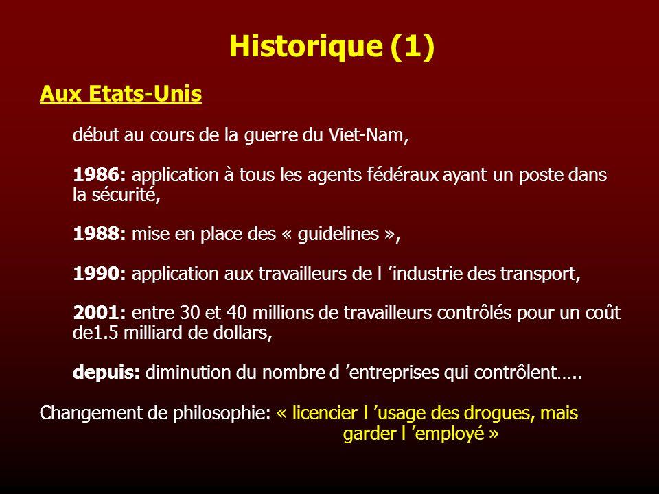 Historique (1) Aux Etats-Unis début au cours de la guerre du Viet-Nam,