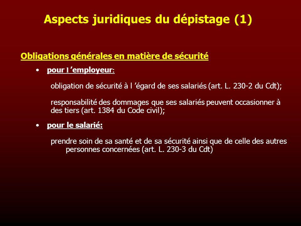 Aspects juridiques du dépistage (1)