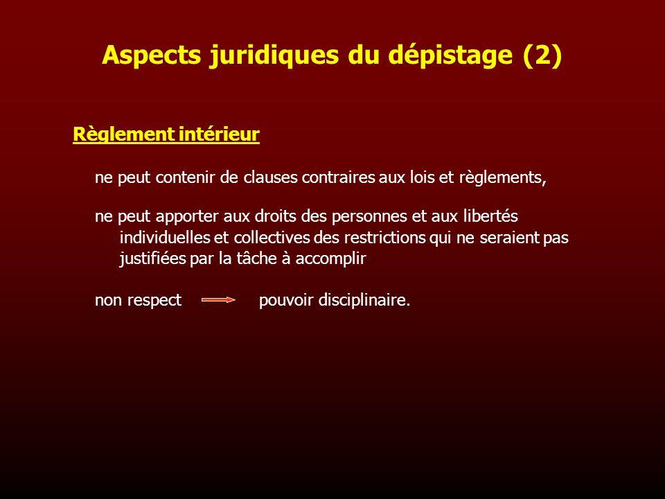 Aspects juridiques du dépistage (2)