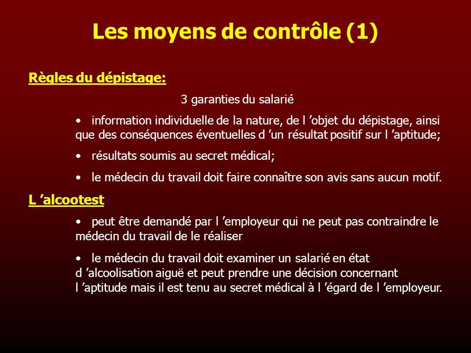 Les moyens de contrôle (1)