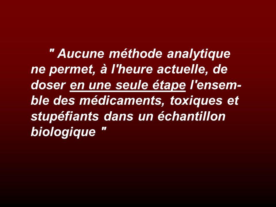 Aucune méthode analytique ne permet, à l heure actuelle, de doser en une seule étape l ensem-ble des médicaments, toxiques et stupéfiants dans un échantillon biologique