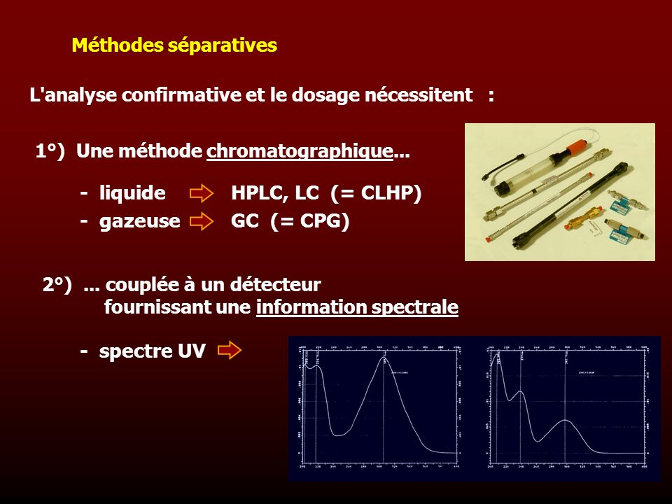 - liquide - gazeuse HPLC, LC (= CLHP) GC (= CPG) - spectre UV
