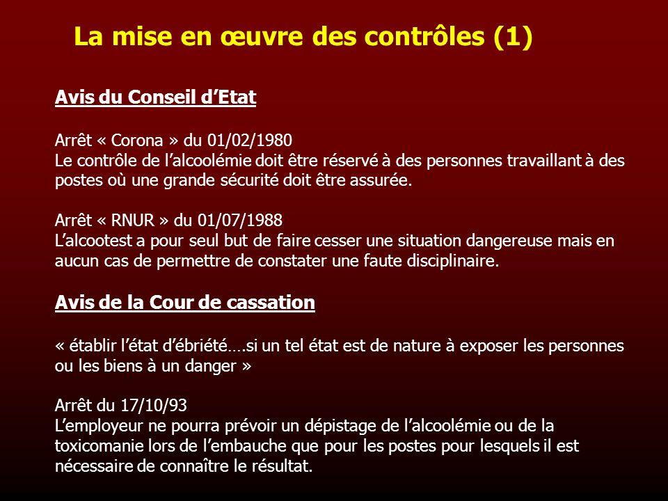 La mise en œuvre des contrôles (1)