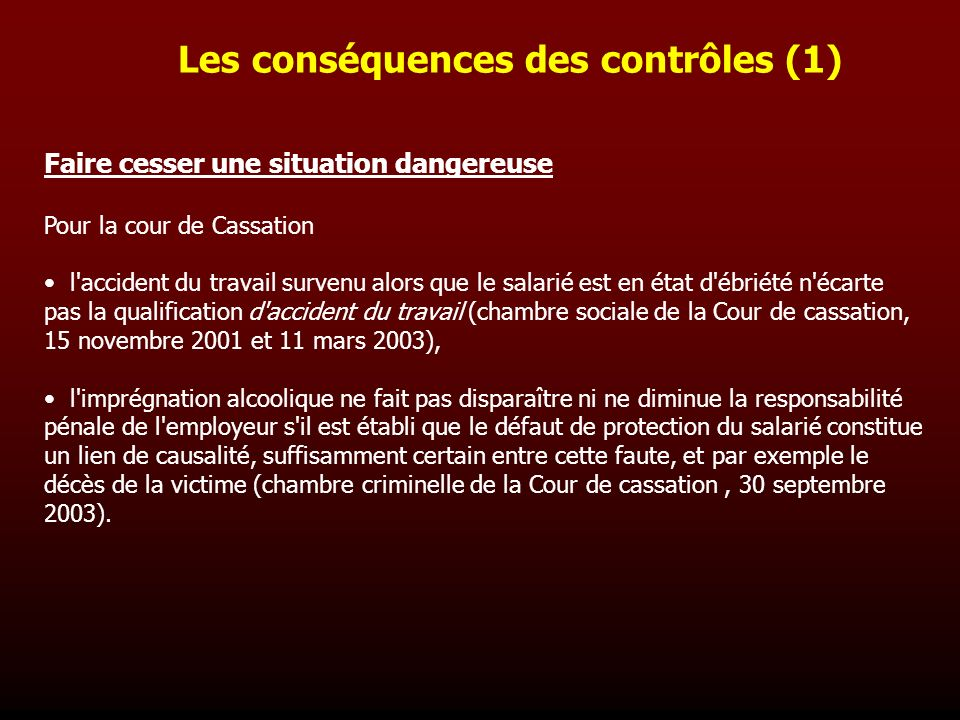Conduites addictives et travail ppt video online t l charger - Jurisprudence cour de cassation chambre sociale ...