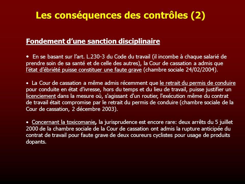 Les conséquences des contrôles (2)