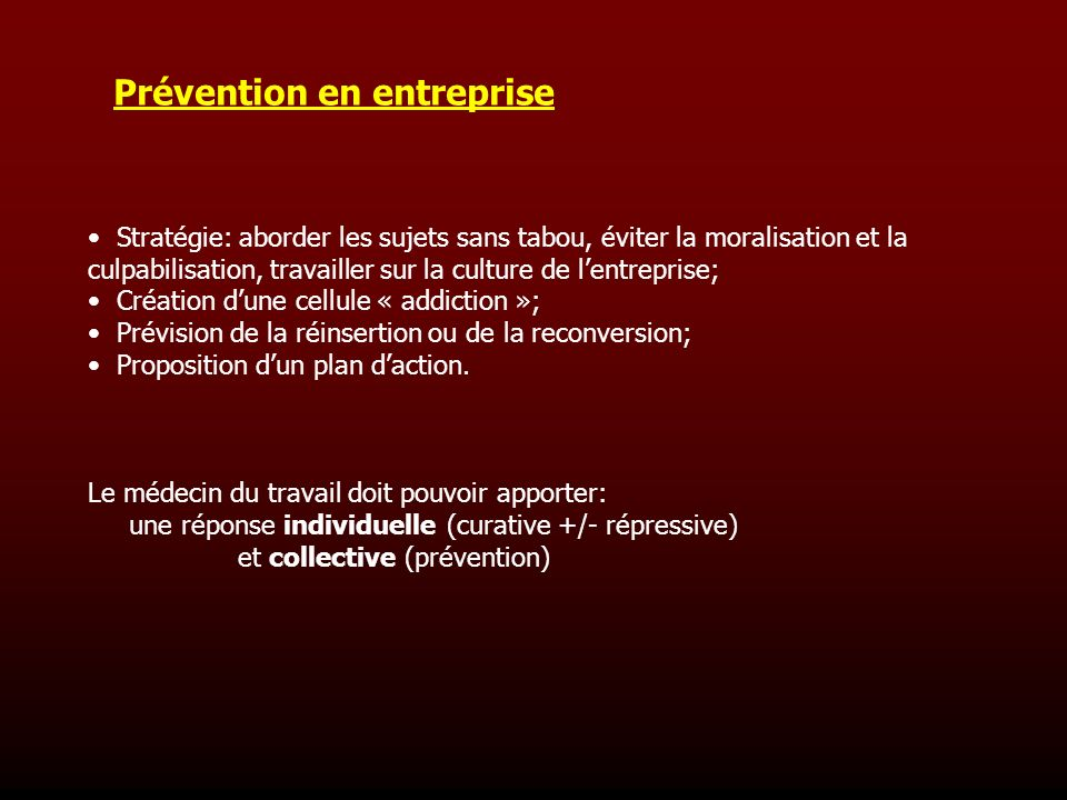 Prévention en entreprise
