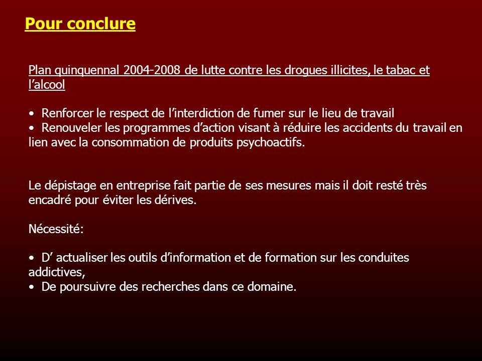 Pour conclure Plan quinquennal 2004-2008 de lutte contre les drogues illicites, le tabac et l'alcool.