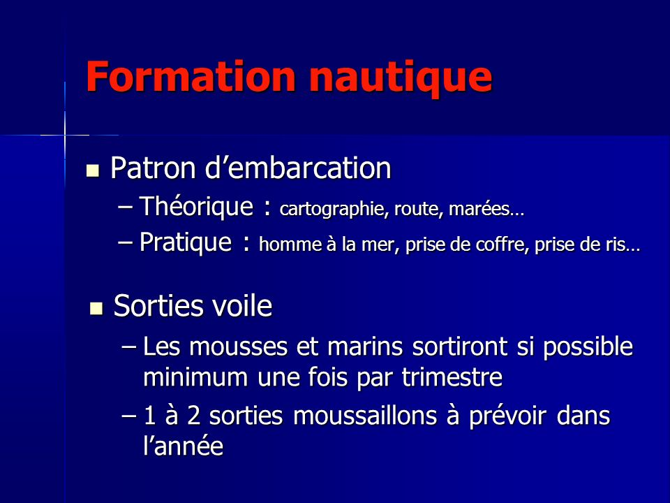 Formation nautique Patron d'embarcation Sorties voile