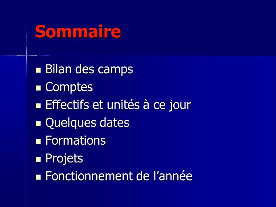 Sommaire Bilan des camps Comptes Effectifs et unités à ce jour