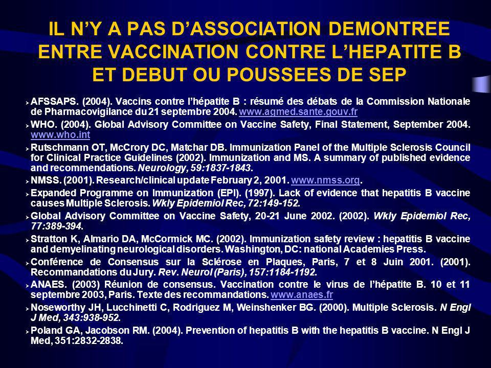 IL N'Y A PAS D'ASSOCIATION DEMONTREE ENTRE VACCINATION CONTRE L'HEPATITE B ET DEBUT OU POUSSEES DE SEP
