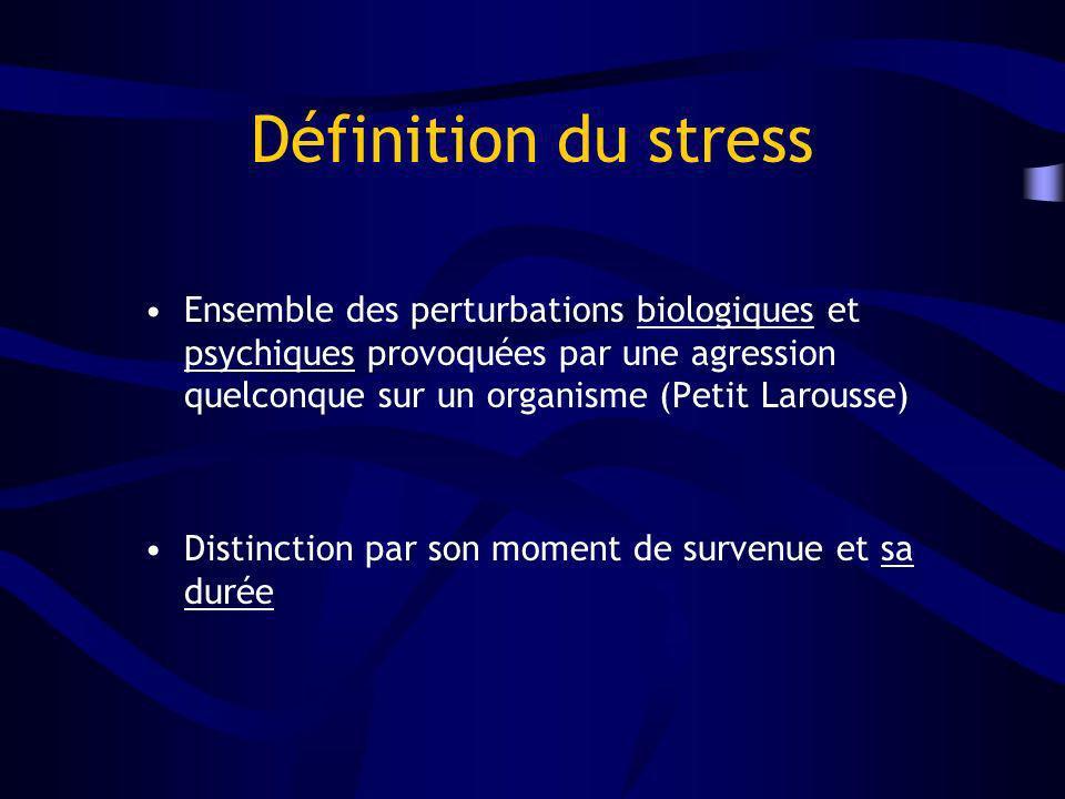 Définition du stress Ensemble des perturbations biologiques et psychiques provoquées par une agression quelconque sur un organisme (Petit Larousse)