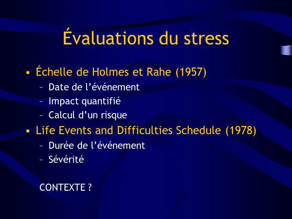 Évaluations du stress Échelle de Holmes et Rahe (1957)