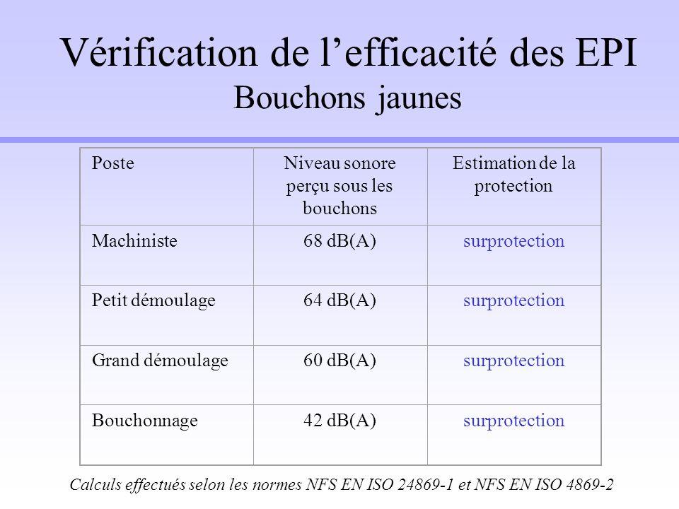 Vérification de l'efficacité des EPI Bouchons jaunes