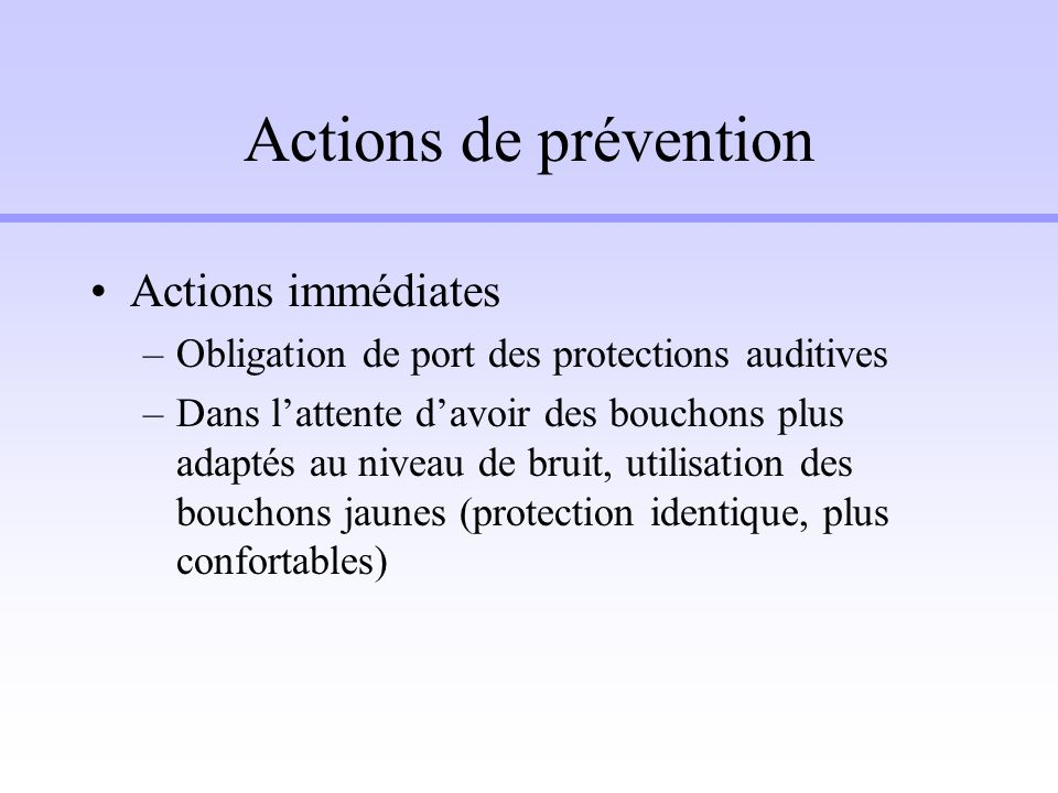 Actions de prévention Actions immédiates
