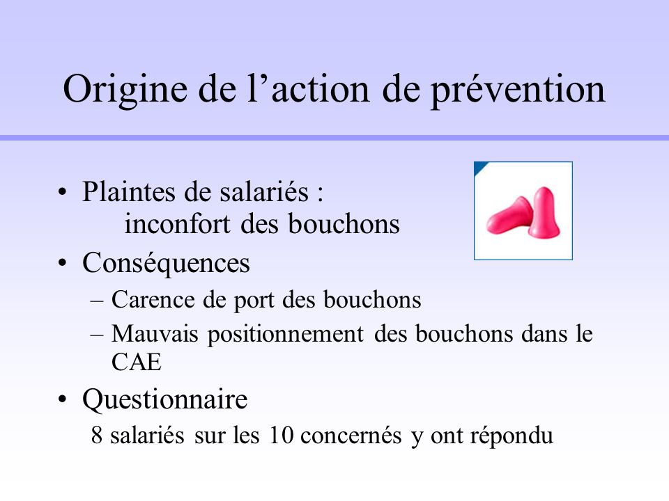 Origine de l'action de prévention