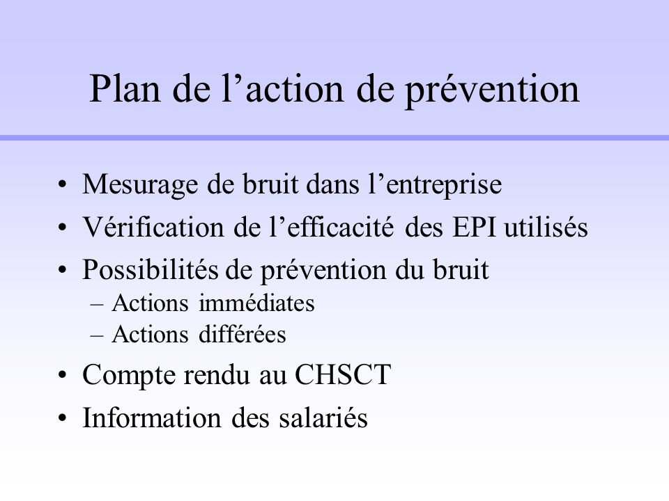 Plan de l'action de prévention